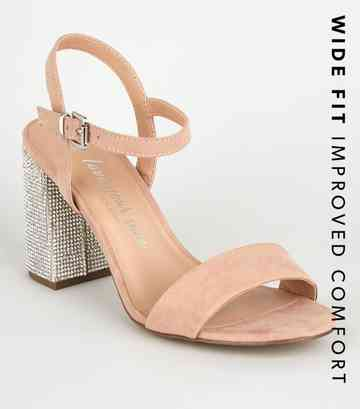 Wide Fit Nude Suedette Gem Embellished Heels