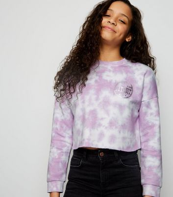 Girls Purple Tie Dye Raw Edge Sweatshirt