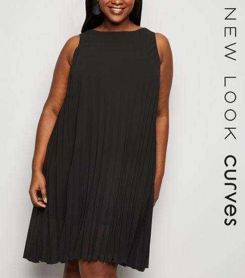 d621b34dfa212 Curves Black Pleated Sleeveless Dress · Curves Black Pleated Sleeveless  Dress ...