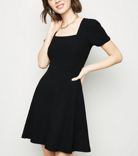... Black Jersey Square Neck Skater Dress ... f25abe2af5