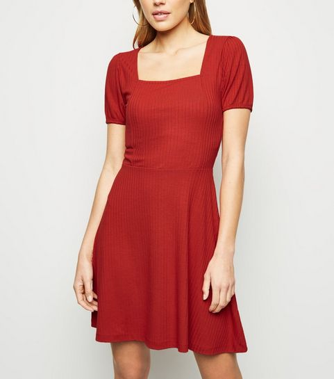 2c61f7d7a5 ... Red Jersey Square Neck Skater Dress ...