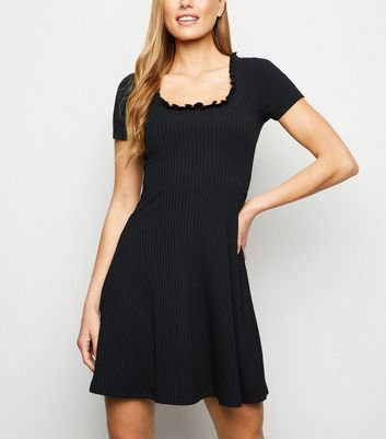 Black Frill Square Neck Rib Skater Dress