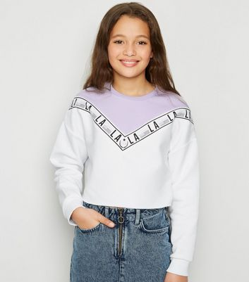 Girls - Sweat violet design color block à chevrons