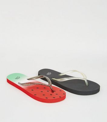 Girls Red and Black Watermelon Flip Flops