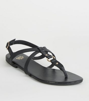 efc4ab8b43 Girls Black Leather-Look Strappy Sandals | New Look