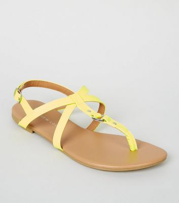 Girls Yellow Neon Leather-Look Strappy Sandals
