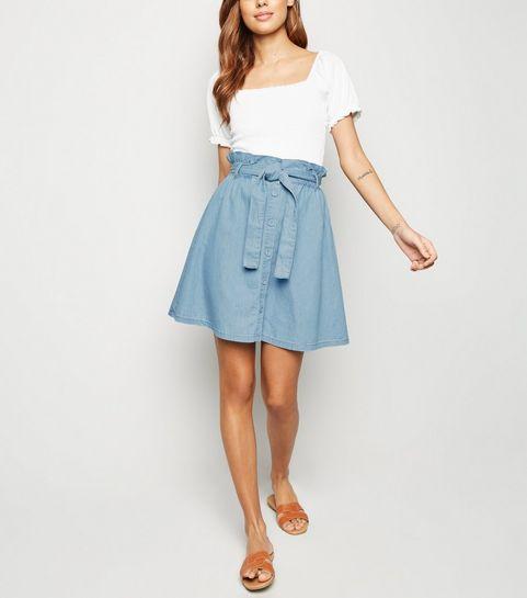 5d3584c042 ... Blue Paperbag Button Up Skirt ...