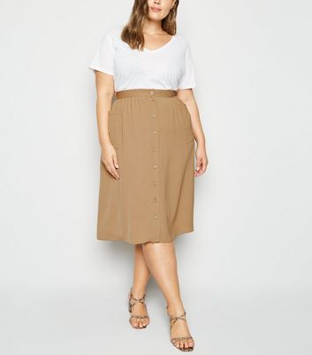 Curves Camel Crepe Button Up Midi Skirt