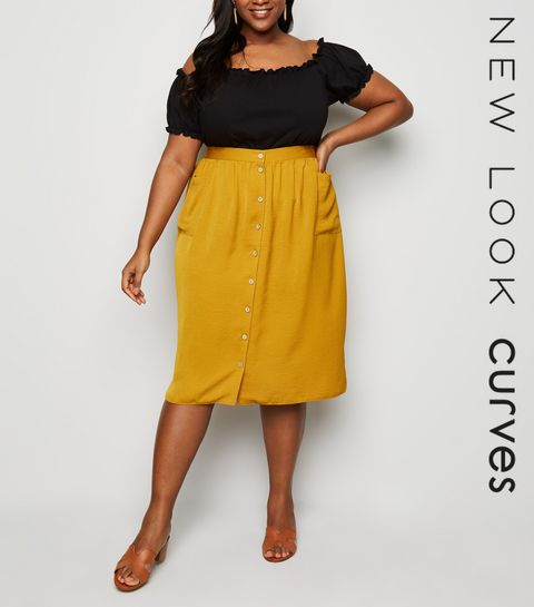 f7c3a7514eb2 ... Mustard Crepe Button Up Midi Skirt ...