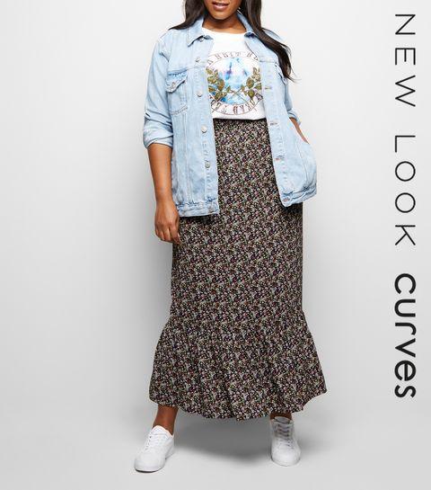 3e0d4806a01d ... Curves Black Ditsy Floral Maxi Skirt ...