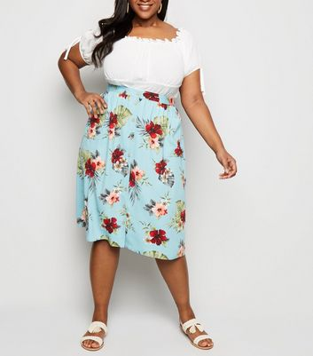 Curves Blue Floral Button Up Midi Skirt
