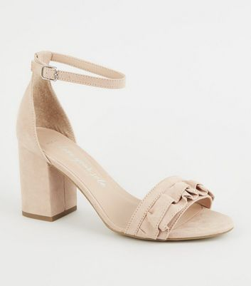 Wide Fit Nude Frill Strap Block Heels