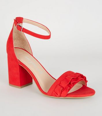 Wide Fit Red Frill Trim Strap Block Heels