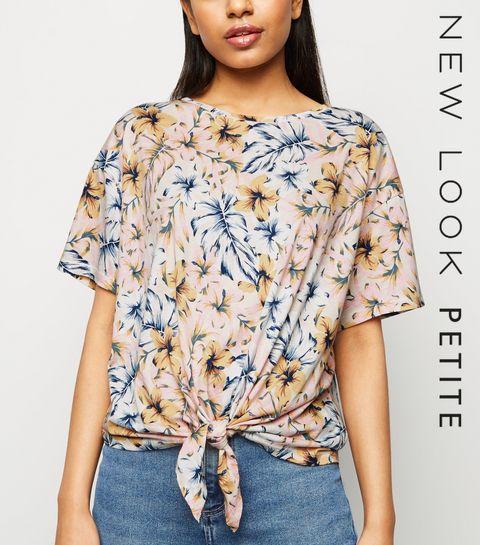 fea08da2869 ... Petite Pink Tropical Floral Tie Front T-Shirt ...