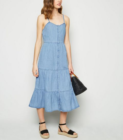 c6441b0da067f ... Pale Blue Denim Tiered Hem Midi Dress ...