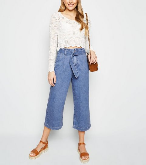 a0be4ce5183 ... Blue D-Ring Belted Denim Culottes ...