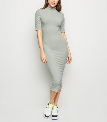 Mint Green Ribbed Turtleneck Midi Dress