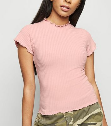 Petite Mid Pink Ribbed Frill Trim T-Shirt
