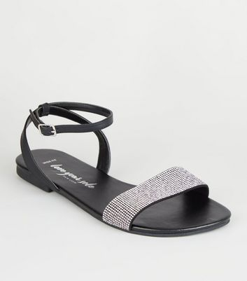 Wide Fit Black Leather-Look Diamanté Sandals