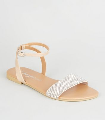 Wide Fit Nude Leather-Look Diamanté Sandals