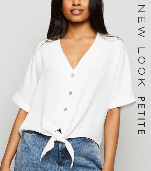 9bddfc244d95 ... Petite White Tie Front Button Up Blouse ...