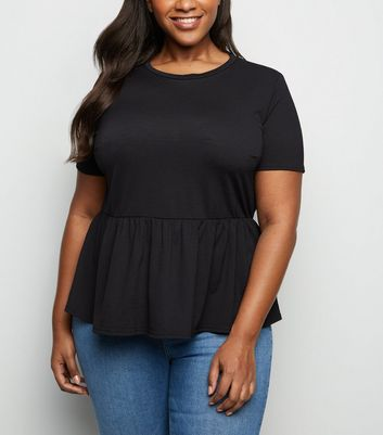 Curves Black Cross Hatch Peplum T-Shirt