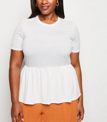 Curves White Cross Hatch Peplum T-Shirt
