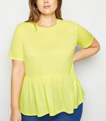 Curves Yellow Cross Hatch Peplum T-Shirt