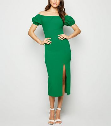 Green Side Split Elasticated Bardot Midi Dress