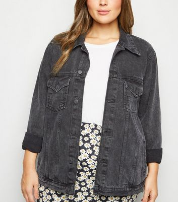 Curves Black Acid Wash Oversized Denim Jacket