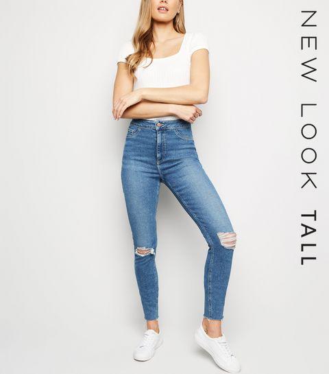 7c22bbc0e ... Tall Blue Ripped High Waist Hallie Jeans ...
