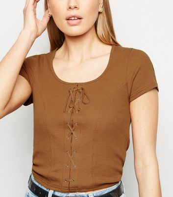 Tall Rust Lace Up Front T-Shirt