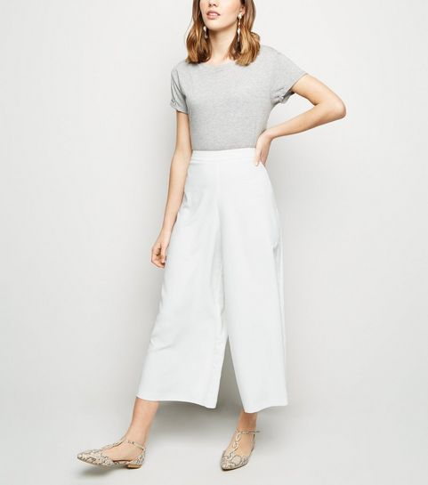 868c0daa8e3 ... Cream Wide Leg Crop Trousers ...