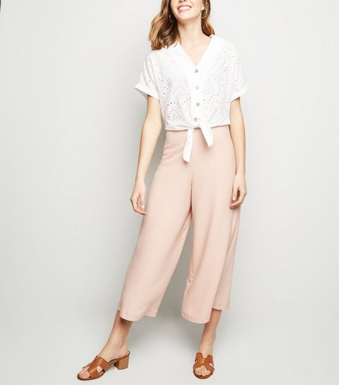 5b3ebde57d3 ... Pale Pink Wide Leg Crop Trousers ...