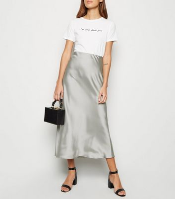 Light Green Satin Bias Cut Midi Skirt