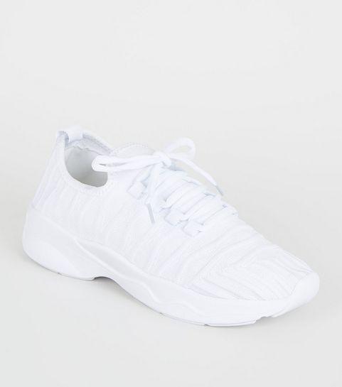 f0b59ef4d14ea ... Baskets blanches à plateformes et à lacets en maille ...