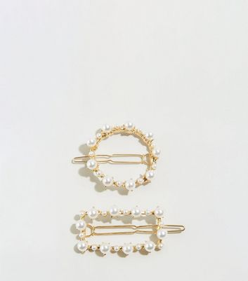 2 Pack Cream Faux Pearl Hair Slides