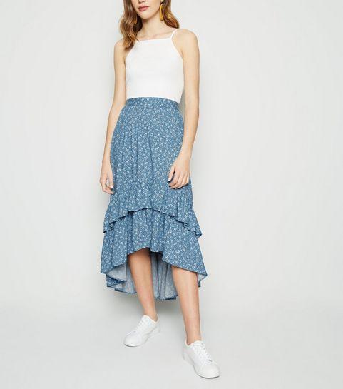 ... Blue Ditsy Floral Tiered Dip Hem Midi Skirt ...