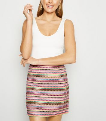 Pink Vanilla Multicoloured Woven Mini Skirt