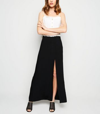 Black Side Split Maxi Skirt