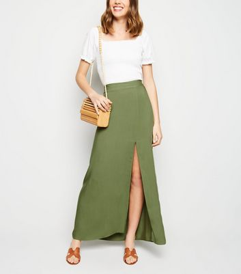 Khaki Side Split Maxi Skirt