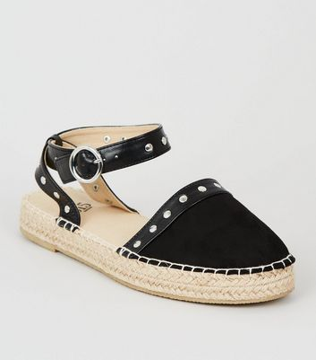 Girls – Schwarze Espadrilles in Wildleder-Optik mit Ziernieten