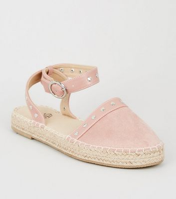 Girls – Espadrilles in Wildleder-Optik mit Ziernieten in Nude