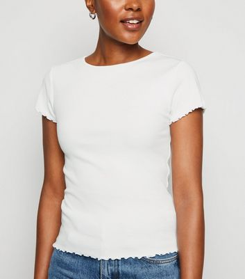 White Ribbed Frill Trim Crop T-Shirt