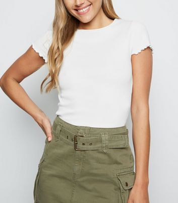 Cream Ribbed Frill Trim Crop T-Shirt