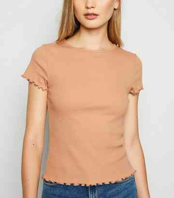 Camel Ribbed Frill Trim Crop T-Shirt