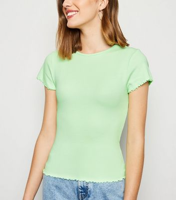 Light Green Ribbed Frill Trim Crop T-Shirt