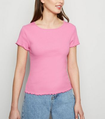 Bright Pink Ribbed Frill Trim Crop T-Shirt