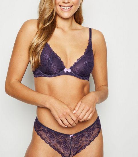 cdae7d9f6 ... Dark Purple Lace Underwired Bra ...