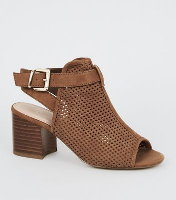Girls Tan Suedette Laser Cut Block Heels